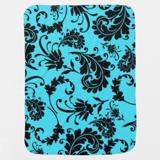 Black Floral (Turquoise) Buggy Blanket