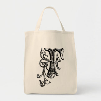 Black Floral Vine Monogram 'F' - Bag