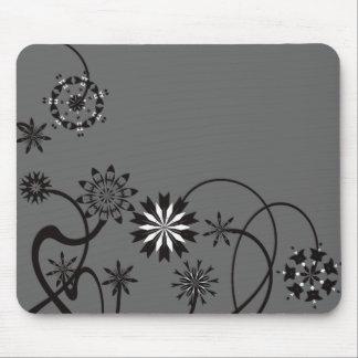 Black Floral Vine Mousepad