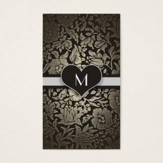 Black Floral Vintage Monogram Elegant Classy