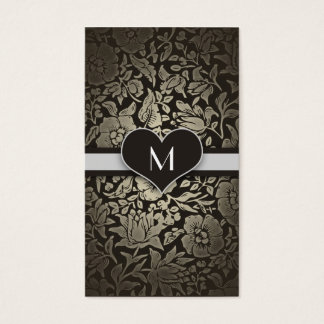 Black Floral Vintage Monogram Elegant Classy Business Card