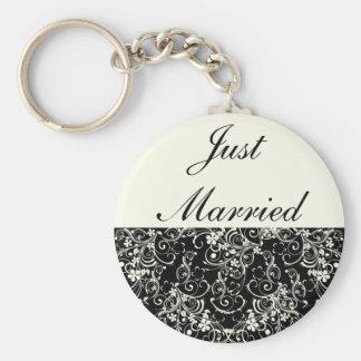 Black Floral Wedding Invitation Set Key Chain