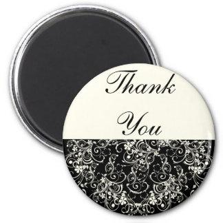 Black Floral Wedding Invitation Set Fridge Magnet