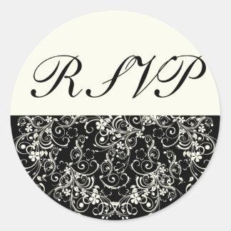 Black Floral Wedding Invitation Set Classic Round Sticker