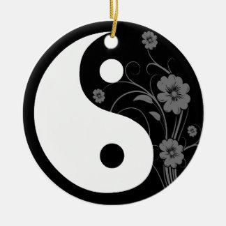 Black Floral Yin Yang Christmas Ornament