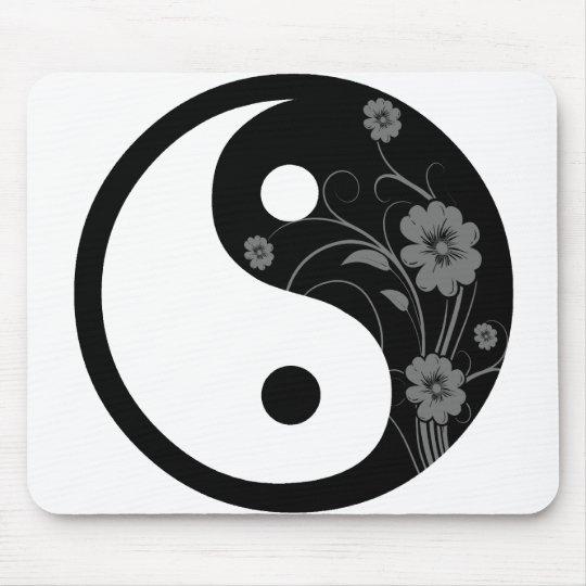 Black Floral Yin Yang Mouse Mat