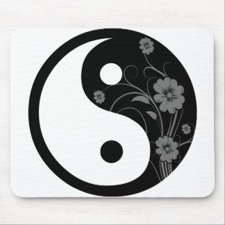 Black Floral Yin Yang Mousepad