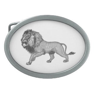 Black Flourish Lion Oval Belt Buckle