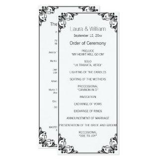 Black Flourish Wedding Program 10 Cm X 24 Cm Invitation Card