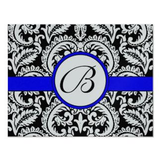 Black Flower Damask with Royal Blue Trim RSVP Card 11 Cm X 14 Cm Invitation Card