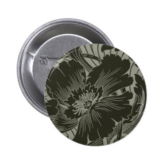 Black Flower Line Art Button