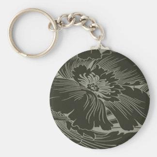 Black Flower Line Art Key Chain