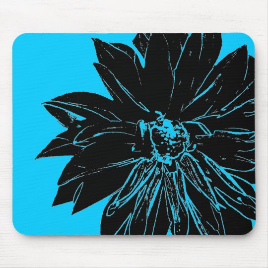 Black flower mouse mat