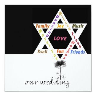 Black Flower of Life Jewish Wedding Card