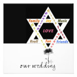 Black Flower of Life Jewish Wedding Personalized Invite