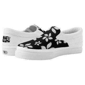 Black Flowered Slip-On Sneakers