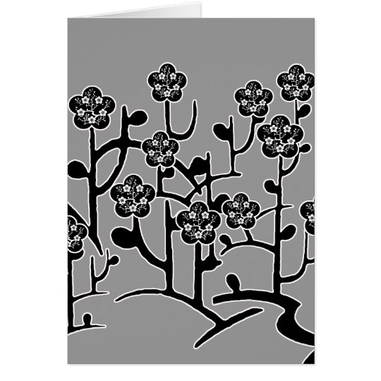 Black Flowers Card