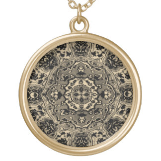 Black Flowers Oriental Rug Gold Plated Necklace