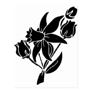 Black Flowers Postcard