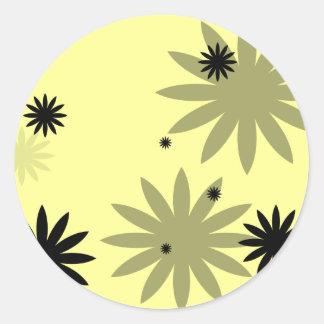 Black Flowers Classic Round Sticker