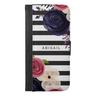 Black Flowers White Striped Personalized iPhone 6/6s Plus Wallet Case