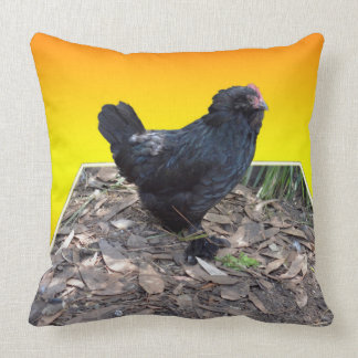 Black Fluffy Chicken On Yellow Popout Big Cushion. Cushion