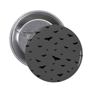 Black Flying Bats & Grey Background - Halloween 6 Cm Round Badge