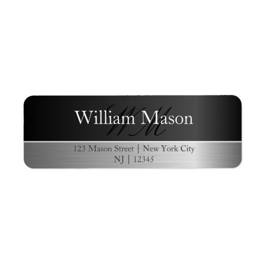 Black Foil & Brushed Steel Monogram Address Label