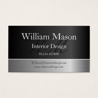 Black Foil & Steel Effect, Monogram Business Card