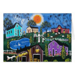 BLACK Folk Art First Day Of New Hope By Lori Note Card