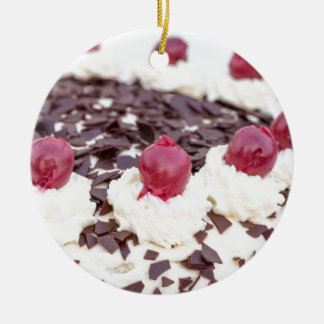 Black Forest cake in detail with white background Christmas Ornament