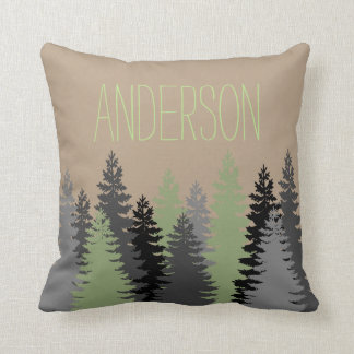Black Forest Woods Pine Tree Custom Name Cushion