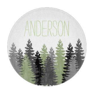 Black Forest Woods Pine Tree Custom Name Cutting Board