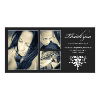 BLACK FORMAL COLLAGE | WEDDING THANK YOU CARD PHOTO CARDS