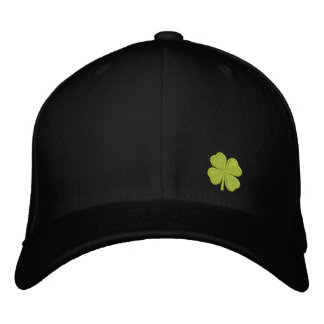 Black  Four Leaf Clover St. Patrick - CUSTOMIZABLE Embroidered Hat