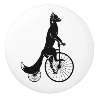 Black Fox on a Bike Ceramic Knob