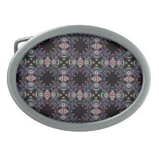 Black Fractal Art Pattern Oval Belt Buckle