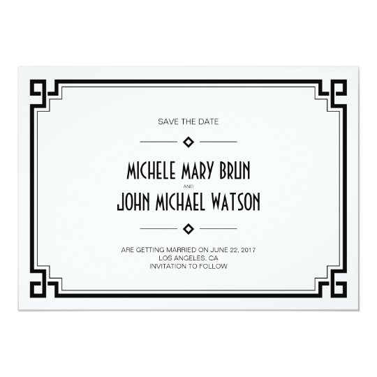 Black Frame Art Deco White Save the Date
