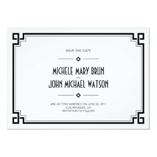 Black Frame Art Deco White Save the Date Card 13 Cm X 18 Cm Invitation Card