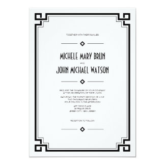Black Frame Art Deco White Wedding Invitation