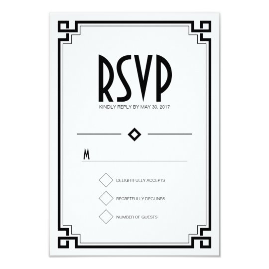 Black Frame Art Deco White Wedding RSVP Card