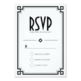 "Black Frame Art Deco White Wedding RSVP Card 3.5"" X 5"" Invitation Card"