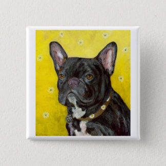 Black French Bulldog 15 Cm Square Badge