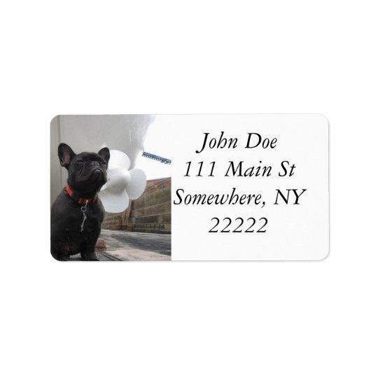 Black French Bulldog Address Label