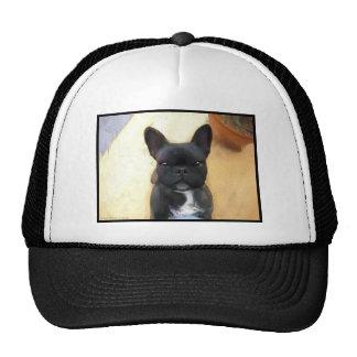 Black French Bulldog art cap