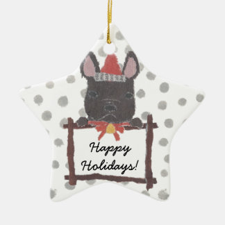 Black French Bulldog, Frenchie Holidays, Christmas Christmas Ornament