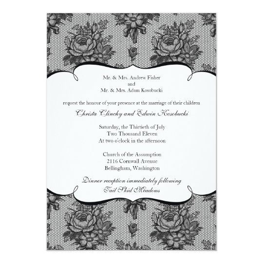 Black French Lace Wedding Invitation