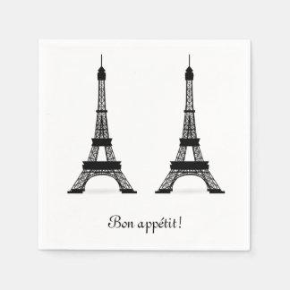 Black French Theme Eiffel Towers Bon Appetit Disposable Serviettes