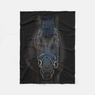 Black Fresian Horse Equestrian Art Fleece Blanket