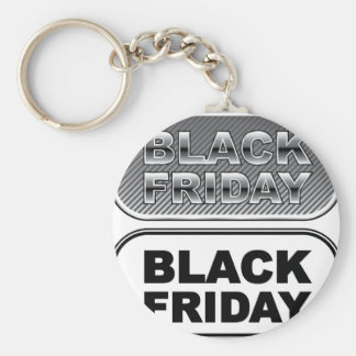 Black Friday button silver Basic Round Button Key Ring